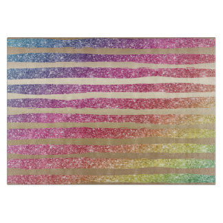 Faux Rainbow Glitter Gold Stripes Boards