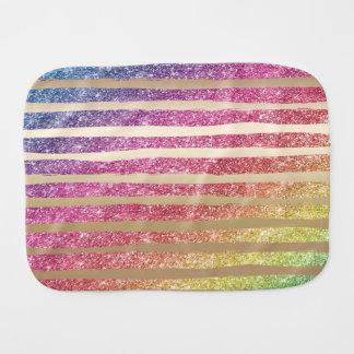 Faux Rainbow Glitter Gold Stripes Burp Cloth