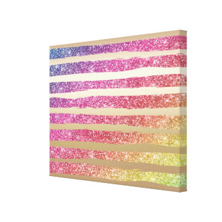 Faux Rainbow Glitter Gold Stripes Canvas Print
