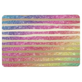 Faux Rainbow Glitter Gold Stripes Floor Mat