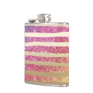 Faux Rainbow Glitter Gold Stripes Hip Flask