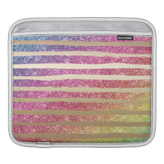 Faux Rainbow Glitter Gold Stripes iPad Sleeve