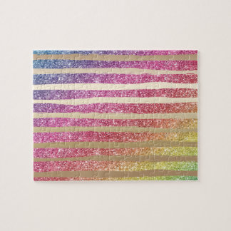 Faux Rainbow Glitter Gold Stripes Jigsaw Puzzle