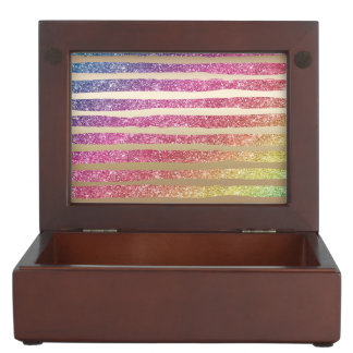 Faux Rainbow Glitter Gold Stripes Keepsake Box