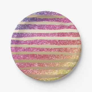 Faux Rainbow Glitter Gold Stripes Paper Plate
