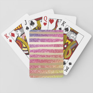 Faux Rainbow Glitter Gold Stripes Playing Cards