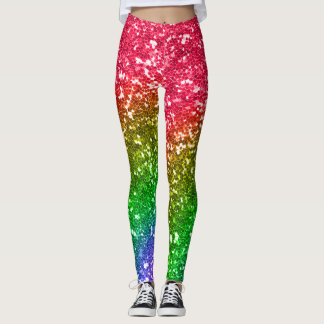 Faux Rainbow Glitter Sequins Festival Leggings