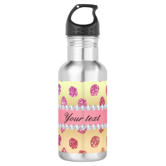 Faux Rainbow Glitter Spots Diamonds Gold 532 Ml Water Bottle