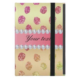 Faux Rainbow Glitter Spots Diamonds Gold Cover For iPad Mini