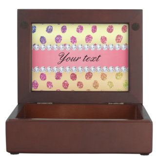 Faux Rainbow Glitter Spots Diamonds Gold Keepsake Box