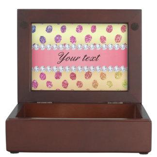 Faux Rainbow Glitter Spots Diamonds Gold Keepsake Box