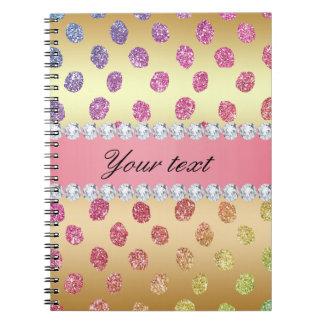 Faux Rainbow Glitter Spots Diamonds Gold Notebook