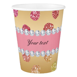 Faux Rainbow Glitter Spots Diamonds Gold Paper Cup