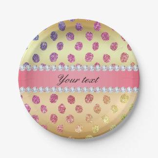 Faux Rainbow Glitter Spots Diamonds Gold Paper Plate