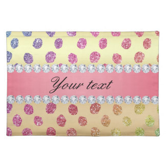 Faux Rainbow Glitter Spots Diamonds Gold Placemat