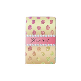 Faux Rainbow Glitter Spots Diamonds Gold Pocket Moleskine Notebook