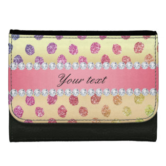 Faux Rainbow Glitter Spots Diamonds Gold Wallet