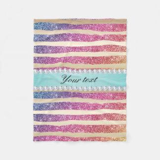 Faux Rainbow Glitter Stripes Diamonds Gold Fleece Blanket