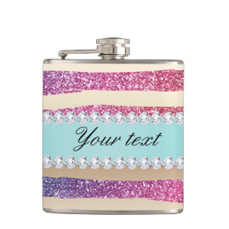Faux Rainbow Glitter Stripes Diamonds Gold Hip Flask