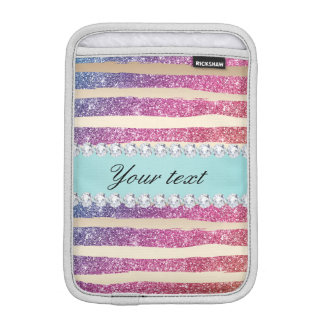 Faux Rainbow Glitter Stripes Diamonds Gold iPad Mini Sleeve