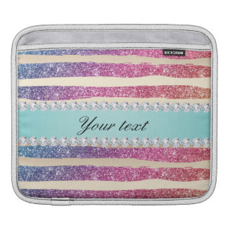 Faux Rainbow Glitter Stripes Diamonds Gold iPad Sleeve