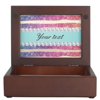 Faux Rainbow Glitter Stripes Diamonds Gold Keepsake Box