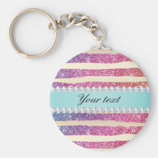 Faux Rainbow Glitter Stripes Diamonds Gold Keychain