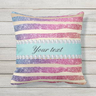 Faux Rainbow Glitter Stripes Diamonds Gold Outdoor Pillow