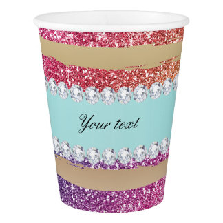 Faux Rainbow Glitter Stripes Diamonds Gold Paper Cup