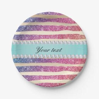 Faux Rainbow Glitter Stripes Diamonds Gold Paper Plate