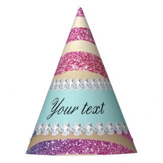 Faux Rainbow Glitter Stripes Diamonds Gold Party Hat