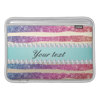 Faux Rainbow Glitter Stripes Diamonds Gold Sleeve For MacBook Air