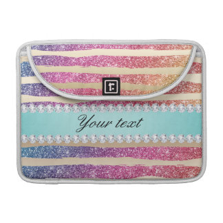 Faux Rainbow Glitter Stripes Diamonds Gold Sleeve For MacBooks