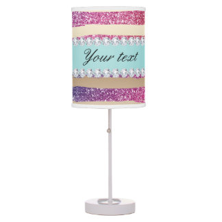 Faux Rainbow Glitter Stripes Diamonds Gold Table Lamp