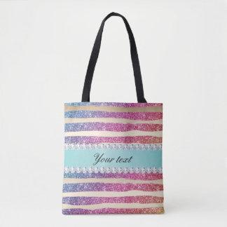 Faux Rainbow Glitter Stripes Diamonds Gold Tote Bag