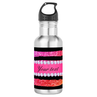 Faux Rainbow Neon Glitter Stripes Diamonds Black 532 Ml Water Bottle