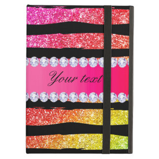Faux Rainbow Neon Glitter Stripes Diamonds Black Case For iPad Air