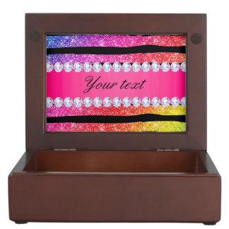 Faux Rainbow Neon Glitter Stripes Diamonds Black Keepsake Box