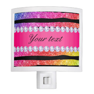 Faux Rainbow Neon Glitter Stripes Diamonds Black Night Lights