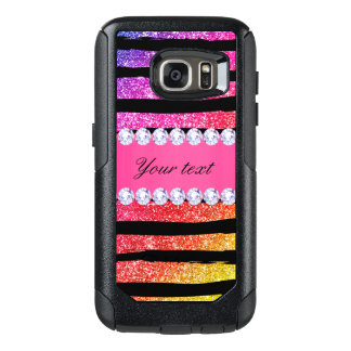 Faux Rainbow Neon Glitter Stripes Diamonds Black OtterBox Samsung Galaxy S7 Case