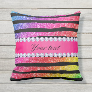Faux Rainbow Neon Glitter Stripes Diamonds Black Outdoor Pillow