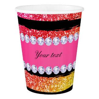 Faux Rainbow Neon Glitter Stripes Diamonds Black Paper Cup
