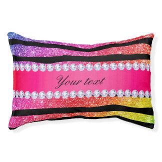 Faux Rainbow Neon Glitter Stripes Diamonds Black Pet Bed