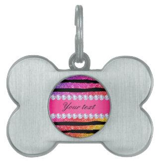 Faux Rainbow Neon Glitter Stripes Diamonds Black Pet Tag