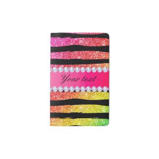 Faux Rainbow Neon Glitter Stripes Diamonds Black Pocket Moleskine Notebook
