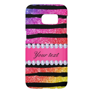 Faux Rainbow Neon Glitter Stripes Diamonds Black Samsung Galaxy S7 Case