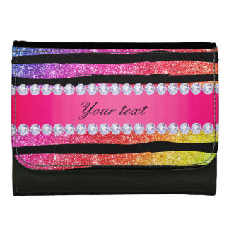 Faux Rainbow Neon Glitter Stripes Diamonds Black Wallets