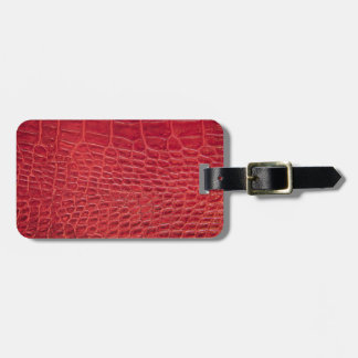 Faux red alligator leather luggage tag