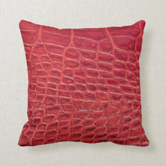 Faux red alligator leather throw pillow