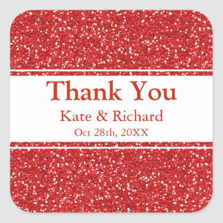 Faux Red Glitter Wedding Thank You Square Sticker